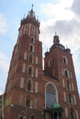 close up view of the Mariacki Church in Krakow