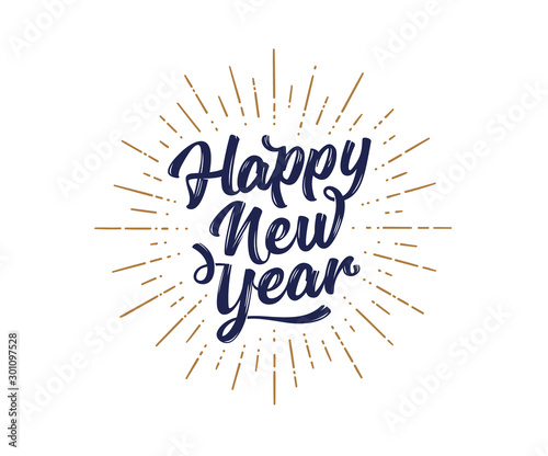 Happy New Year. Lettering text for Happy New Year - 301097528