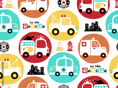 plakat vector seamless pattern of rescue team vehicles