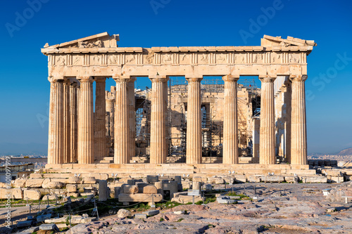 Photo The Parthenon Temple in Acropolis of Athens, Greece.