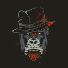 Original Vector Illustration In A Retro Style. Evil Gorilla Head Gangster In Retro Style Hat. T-shirt Or Sticker Design