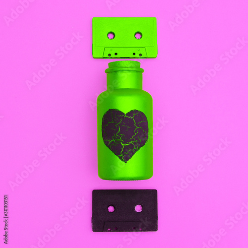 canvas print motiv - Porechenskaya : Audio cassettes and art bottle. Minimal flat lay music concept