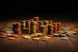 Leinwandbild Motiv  monete varie accatastate