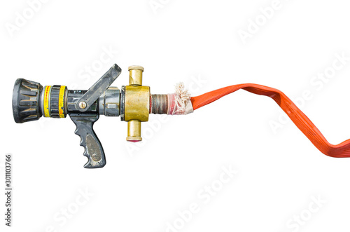 Fire hose on isolsted white background