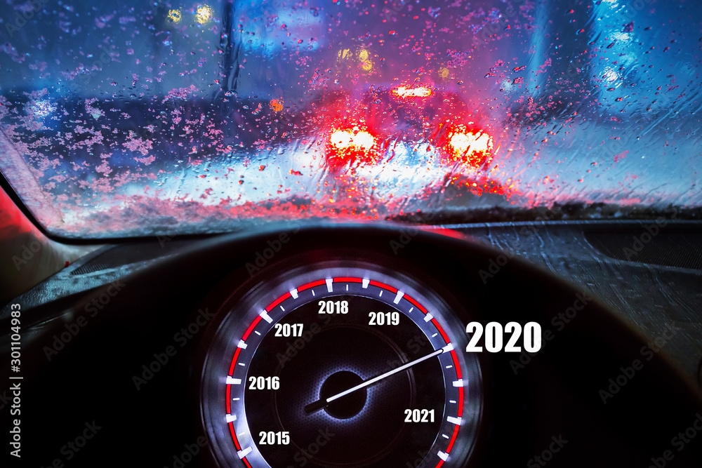 Fototapety, obrazy: Going to the New Year 2020 by the car at snowy night