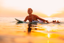 Attractive Surfer Woman On A S...