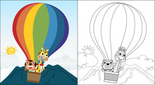 Vector Cartoon Of Cat With Giraffe On Hot Air Balloon, Funny Animals Travel, Coloring Book Or Page
