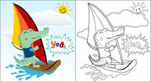 Vector Cartoon Of Crocodile Playing Windsurf At Summer Holiday, Coloring Book Or Page