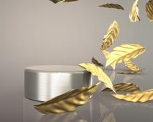 3d Render Gold Leaves Luxury F...