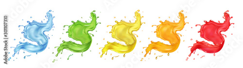 Autocollant pour porte Forme Fruit berries splashing juice or jam set. Colored paint splashes realistic vector collection