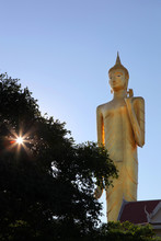 Burapha Phiram Temple And Big Buddha Or Buddha Rattanamongkol Mahamuni The Highest Standing Buddha Statue In Thailand In Roi Et Province.