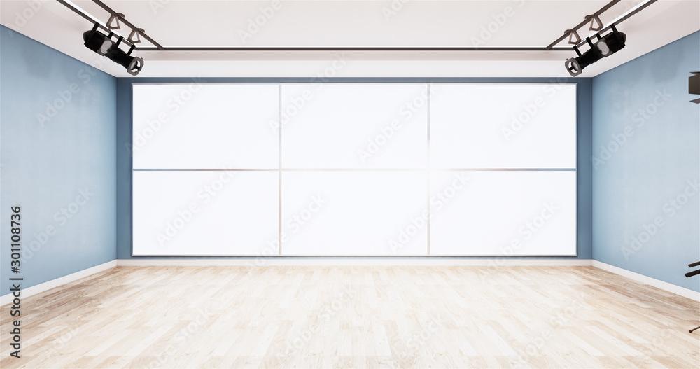 Fototapeta News studio blue room design Backdrop for TV shows.3D rendering