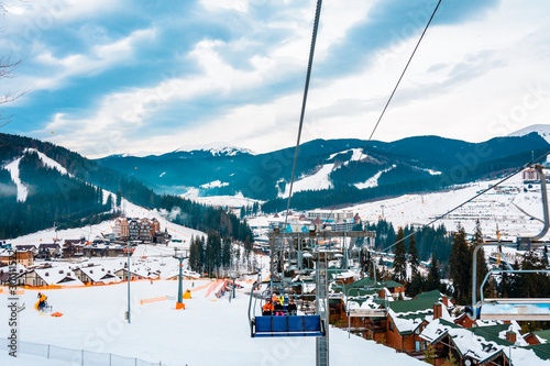 Autocollant pour porte Europe de l Est Ski lifts of holiday complexes. In the Carpathians, winter landscape.