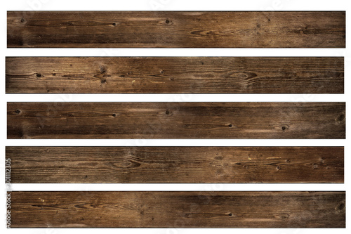 Spoed Foto op Canvas Hout Set of isolated Walnut wood texture. Big Brown wood plank wall texture background.