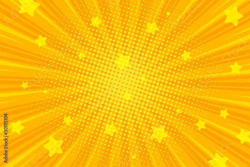 Retro comic background, pop art Radial rays Canvas Print