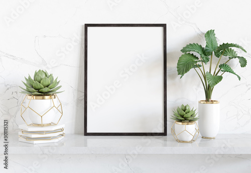 Obraz Black frame leaning on white shelve in bright interior with plants and decorations mockup 3D rendering - fototapety do salonu