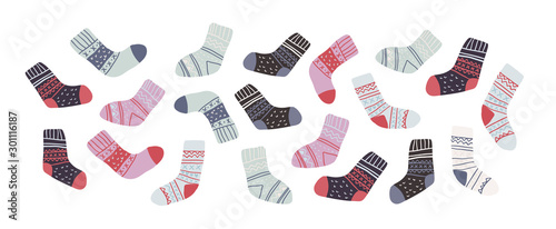 Photo set of cute colorful socks in scandinavian style