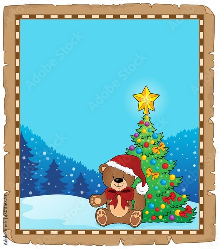 Montage in der Fensternische Für Kinder Christmas teddy bear topic parchment 1