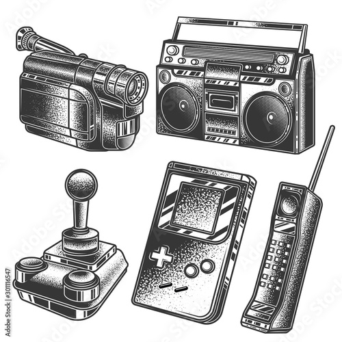 PrintOriginal monochrome vector retro set of illustrations in the style of the 80s and 90s Fototapeta