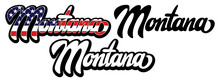 Set Of Two Vector Templates With Name Of The State Montana. Lettering