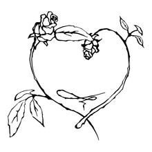 Ornamental Frame With Roses. Hand Drawn Vector Border. Solemn Floral Element For Design Banner, Invitation, Card, Poster. Theme Of Wedding, Valentine's Day. Black, White Rose Artwork