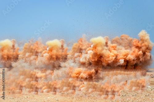 Fotografie, Tablou Dust storm during detonator blasting on the mining site