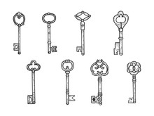 Vintage Key Set Sketch Engravi...