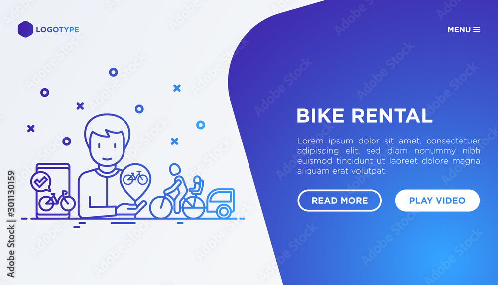 Fototapety, obrazy: Bike rental mobile app. Web page template with thin line icons: rates, bicycle tours, pet trailer, child seat, sharing, pointer. Modern vector illustration.