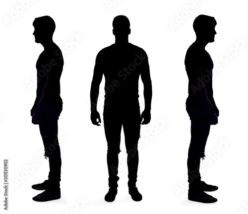 silhouette of a man on white on background Wall mural