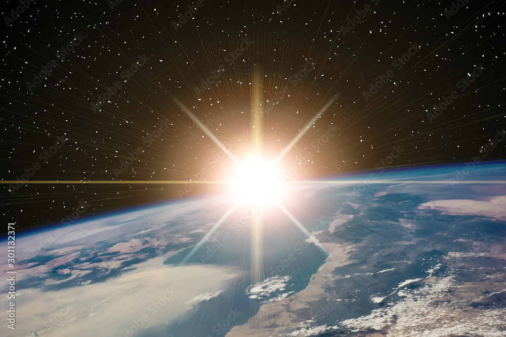 Fototapety, obrazy: Highly detailed epic sunrise from space. The elements of this im