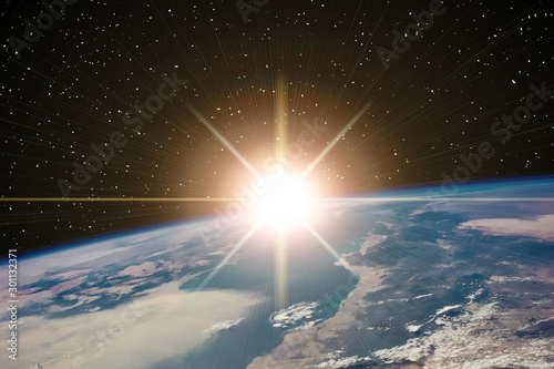 Foto auf Gartenposter Schöner Morgen Highly detailed epic sunrise from space. The elements of this im