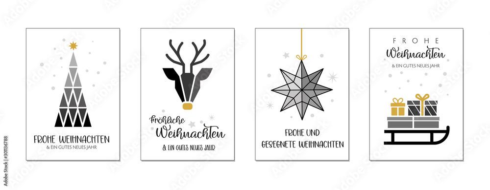 Fototapety, obrazy: Weihnachtgrüße mit vier verschiedenen weihnachtlichen Motiven und wünschen