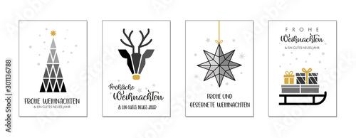 Fototapeta Weihnachtgrüße mit vier verschiedenen weihnachtlichen Motiven und wünschen obraz