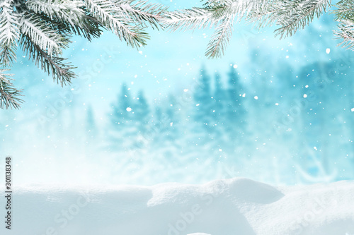 Foto auf AluDibond Licht blau Beautiful winter landscape with snow covered trees.Merry Christmas and happy New Year greeting background with copy-space.