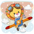 Cartoon Lion is flying on a plane