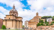 Capitoline Hill And Church Of Saint Luca And Martina And Curia Julia Senate House. Roman Forum, Rome, Italy