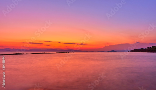 Poster Corail Aegean Sea in Aegina Island at twilight