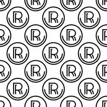 Registered Trademark Icon, Letter R Symbol Seamless Pattern