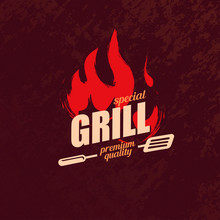Grill And BBQ Stylized Logo Te...
