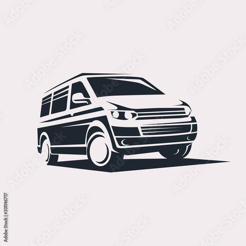 Valokuvatapetti mini van symbol logo template, delivery and logistic services concept
