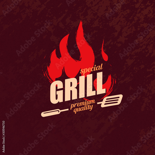 Foto grill and BBQ stylized logo template