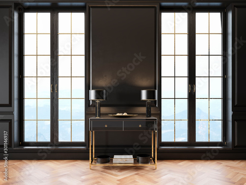 Black classic interior with dresser, table lamp, moldings, window and wooden floor. 3d render illustration mockup.