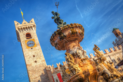 The fountain of Neptune on Piazza Duomo in Trento, South Tyrol Canvas Print