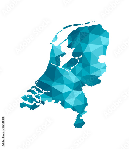 Foto Vector isolated illustration icon with simplified blue silhouette of The Netherlands map