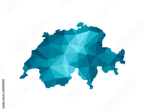 Obraz na plátně Vector isolated illustration icon with simplified blue silhouette of Switzerland map