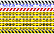 realistic Seamless security yellow black diagonal stripes. Safety danger ribbon signs.Warn Caution symbol. Under construction, do not cross, police line, warning. Isolated on white background.