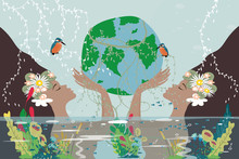 Mother Earth Day Poster With Nature Two Beauty Women Holding Planet, Twin Girls Holding Earth Globe In Their Hands, World Environment Day Background, Save The Earth Or Green Day Concept