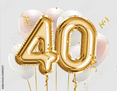 Papel de parede Happy 40th birthday gold foil balloon greeting background
