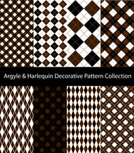 Collection Of Argyle / Harlequin / Rhombus Patterns. Brown And Black Seamless Decorative Backgrounds.