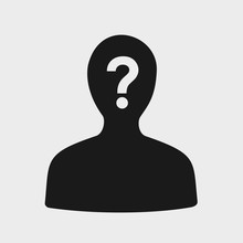 Unknown Person With Hidden, Covered And Masked Face - Mysterious Strange Man / Anonymous Character. Vector Illustration Of Simple Silhouette.